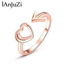 2019 New Fashion Rose Gold Color Heart Shaped Wedding Ring for Woman Heart Arrow Ring(China)