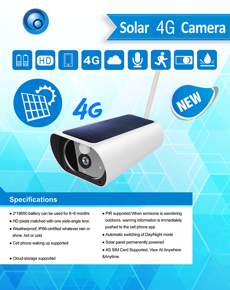 SmartYIBA solaire Wifi caméra solaire alimenté en plein air IP caméra 4G carte SIM pris en charge deux voies Audio Cloud stockage PIR détection