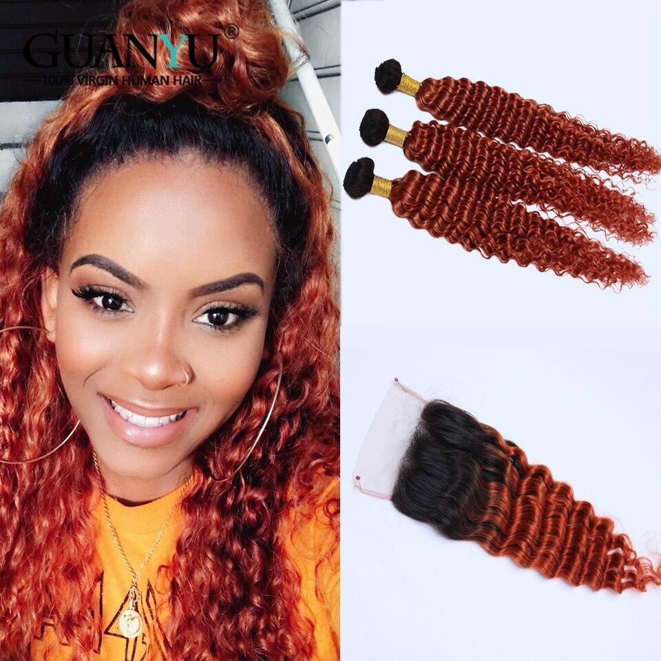 Guanyuhair Ombre Culy Cheveux Bundles 2 Ton Remy Péruvienne Vague Profonde Cheveux 3 Bundles Avec Fermeture Ombre 1B/130 rouge Cheveux Bundles