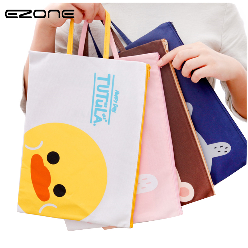 EZONE 1PC Cute Animals A4/A5 Oxford File Bag Portable Document Bag Cat/Rabbit Student Paper Exam Bag School Supplies Stationery