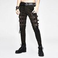 Для мужчин коричневый брюки полной длины из искусственной кожи с металлической пряжкой полосы мужской брюки Punk моды специально для вечерни