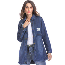 Jackets for Women Tops Broken Hole Denim Jacket New Letter Printing Long Denim Jacket Long Sleeve Broken Hole Plus Size
