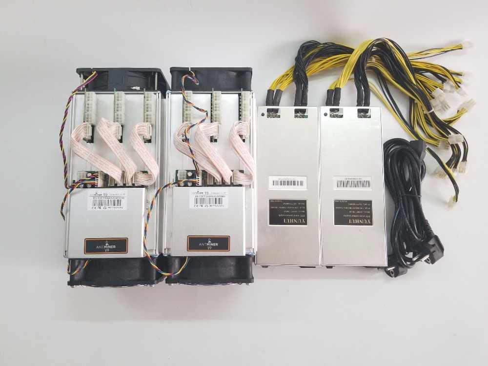 Новый, 2 предмета Asic шахтер BITMAIN AntMiner V9 4 T/S с БП Bitcoin шахтера БТД МПБ Шахтер лучше, чем S5 S7 S9 S9i WhatsMiner M3 T9 + E9