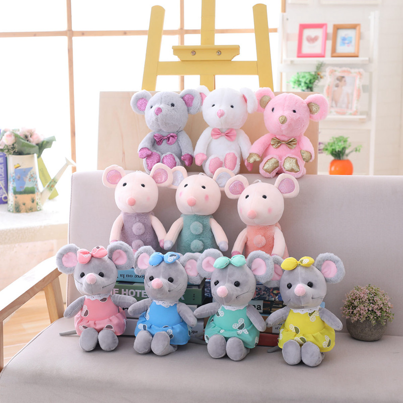 1PC 25cm Cute Mouse Plush Toy Stuffed Soft Animal Rat Doll Kawaii Birthday Gift For Children Lovely Kids Baby Toy