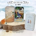 Island adventures Box theatre DIY Mini Doll house 3D Miniature Colored Light+Metal box+Doll+Wooden support+Furnitures Decoration