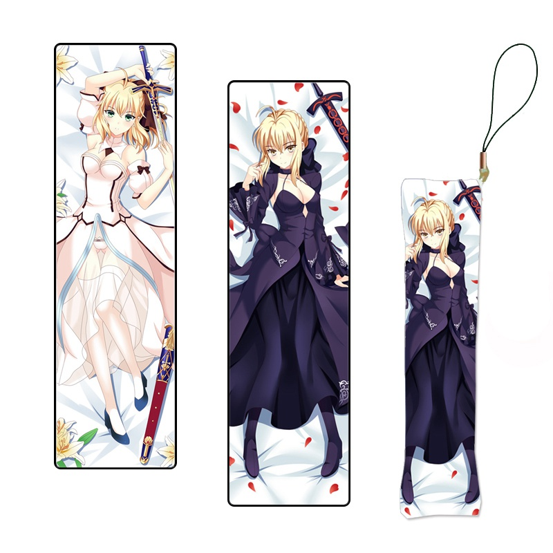 Saber Lily Japanese Anime Zero Mini Dakimakura Hanging Ornament Pillow Keychain Phone Strap Gift Custom Made