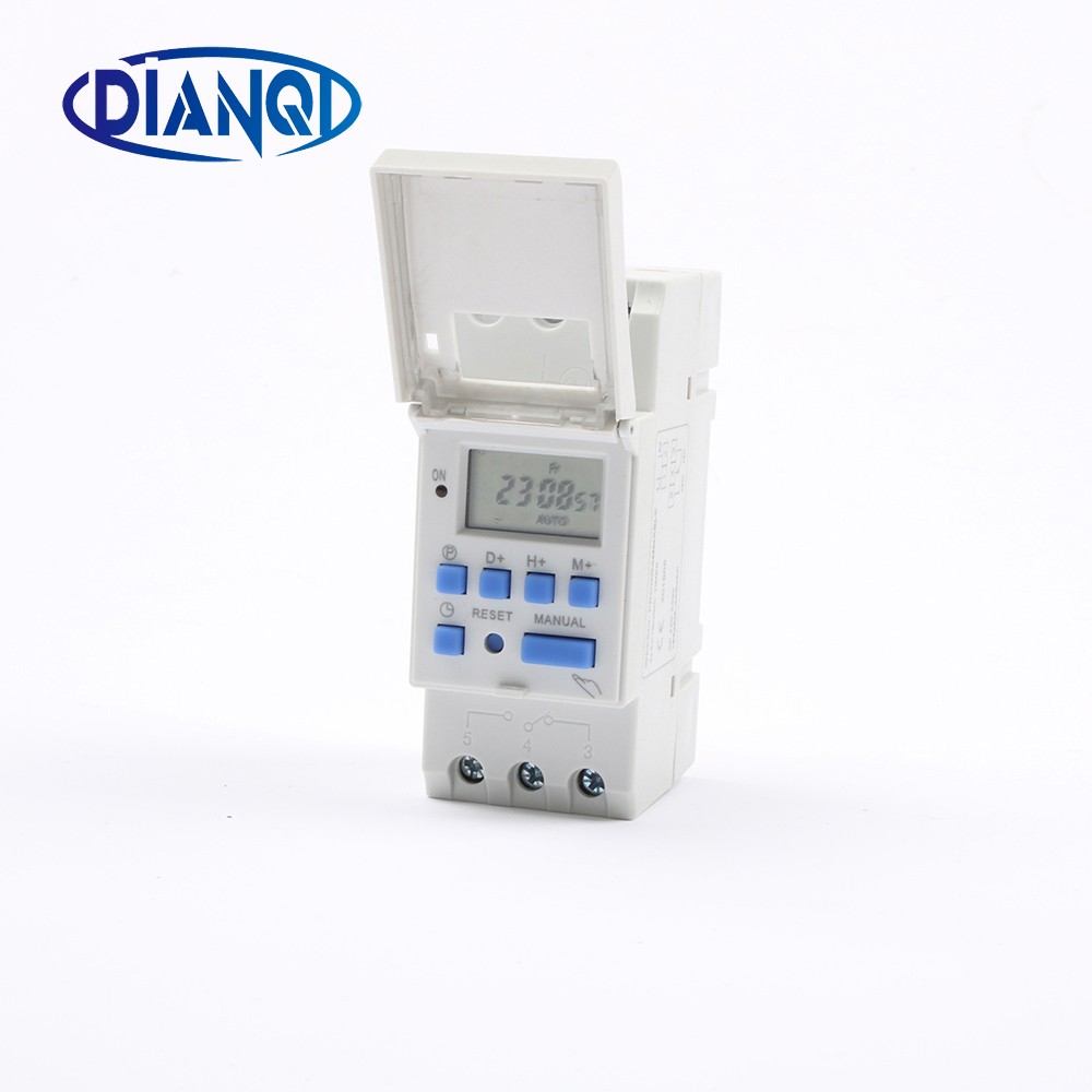 No Lock DIGITAL PROGRAMMABLE Timer TIME RELAY Microcomputer Electronic Digital TIMER SWITCH Relay Control Din Rail Mount chint nkg3 nkg 3 lcd microcomputer astro time switch sunrise sunset based on latitude din rail digital programmable timer relay