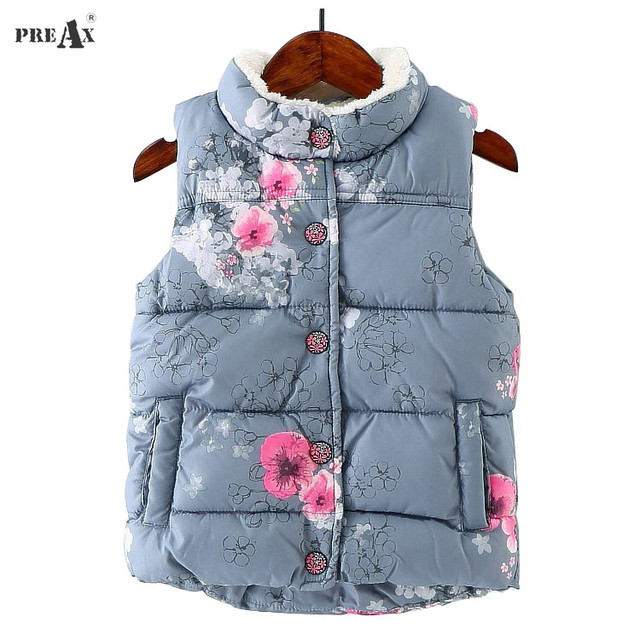 b46c1e5f2f41 Winter Baby Girls Outerwear Coat Thick Flower Girls Vest Clothing ...