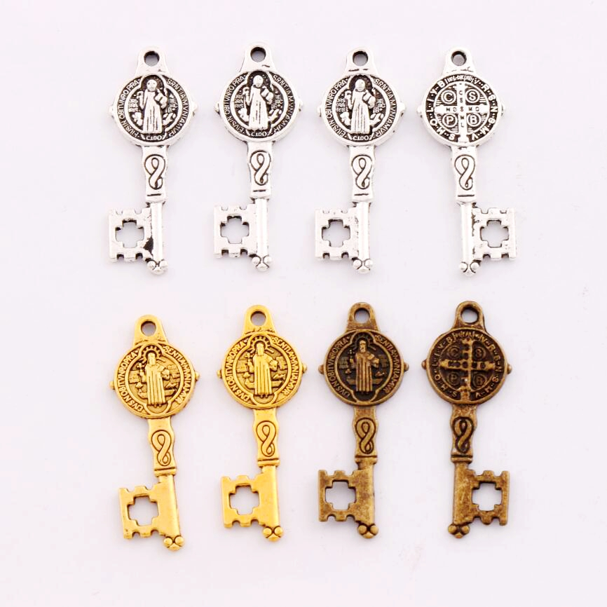 200pcs 125x327mm antique silver saint benedict medal cross key 200pcs 125x327mm antique silver saint benedict medal cross key charms pendants jewelry diy l1640 in beads from jewelry accessories on aliexpress aloadofball Image collections