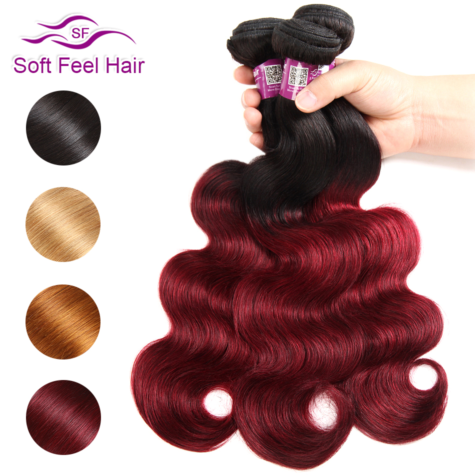 Myk Feel Hair 1/3/4 stk Ombre Brasilian Body Wave Bundles 1B / Burgundy Ombre Hair Bundles Weave 99J Red Remy Human Hair Extension