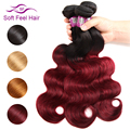 Soft Feel Hair 1/3/4Pcs Ombre Brazilian Body Wave Bundles 1B/Burgundy Ombre Hair Bundles Weave 99J Red Remy Human Hair Extension