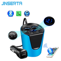 JINSERTA Música Reproductor de MP3 Transmisor FM Bluetooth Car Kit Manos Libres Cargador Adaptador para Encendedor de Cigarrillos Divisor de 2 Puertos USB