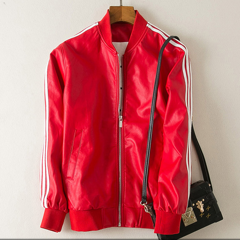 2017 European and American Spring Girls Lovers PU Baseball Short PU Motorcycle Leather Jackets Red Striped Women Cloth 3XL C389