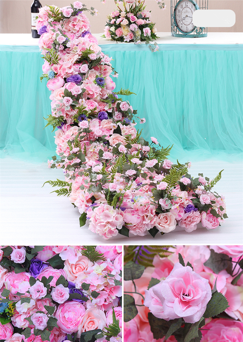 JAROWN Wedding Props Flower Row Trailing Floral Set Flower Wall Welcome Area Stage Layout Decor Home Party Decoration (7)