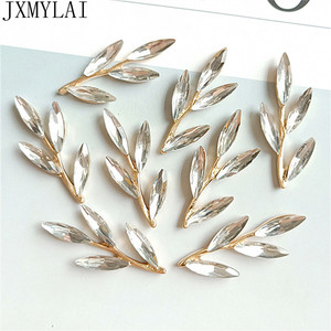 10 PCS 3.7cm*1.5cm Metal Alloy KC Gold Crystal Leaf Branch DIY Handmade Accessories For Jewelry Making