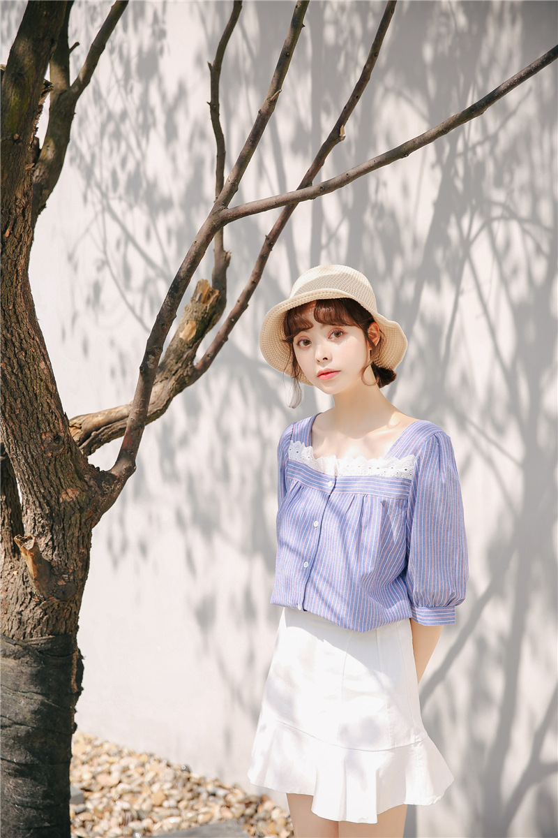 2018 Summer New Women Sweet Lace Square Collar Striped Short Sleeve Shirt To Be Distributed All Over The World Blouses & Shirts