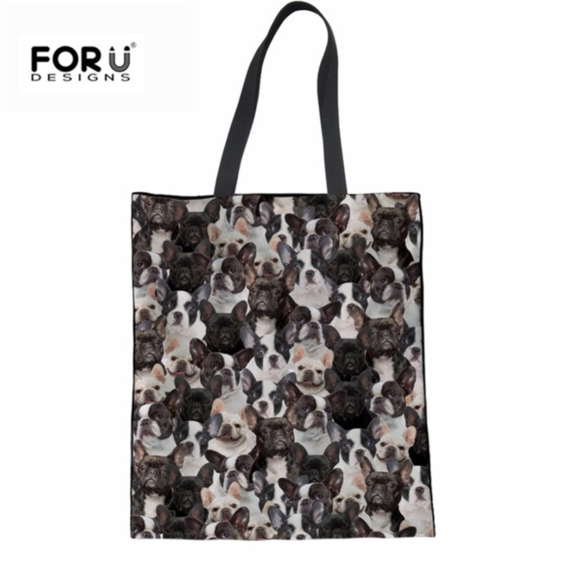 FORUDESIGNS Pug Dogs Women Linen Shoulder Bag Female Canvas Shopping Messenger Bag Cute New Brand Designer Handbags For Ladies