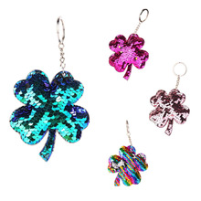 CDCOTN Colorful Sequins Four-Leaf Clover Car Key Chain Reflective Bright Keychain Key Rings Hanging Bag Pendant Jewelry цена