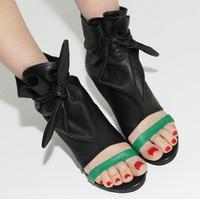 Moda Yeşil Askı Açık Toe Kadın Platformu Sandalet Pürüzsüz Siyah Deri Bayanlar Kama Topuk Elbise Ayakkabı Ayak Bileği Dantel Kadar Sandalet