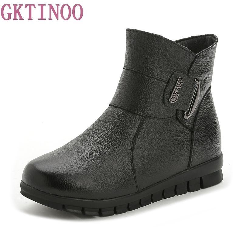 2017 Fashion Winter Boots Women Genuine Leather Flat Ankle Boots Casual Warm Shoes Woman Snow Boots Women Boots