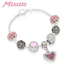 MISSITA Love Heart Series Fashion Bracelet with Pink CZ Pendant Beads Bangle for Women Jewelry Brand Anniversary Gift Hot Sale characteristic hot sale cross shape pendant design women s beads bracelet