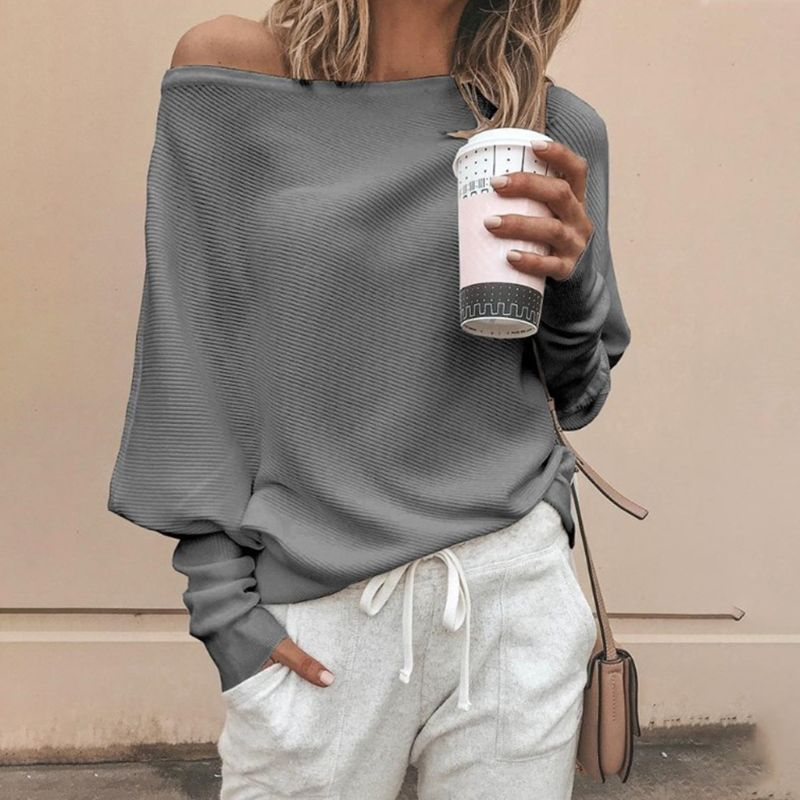 Women Autumn Spring Off Shoulder Sweater Long Batwing Sleeves Solid Color Knitted Pullover Tops Loose Casual Knitwear Jumper New 2
