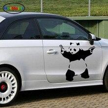 HotMeiNi 43 cm x 43 cm Panda Divertida con Pistolas de Vaquero Graphcs Art Styling Etiqueta Engomada del coche Caravana Camión SUV Vinyl Decal la Guerra y la paz