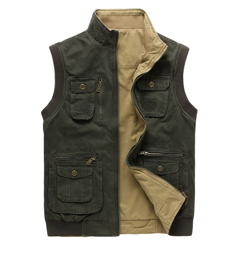 M~3XL 2015 Autumn Spring Reversible Casual Men Vest Coat AFS JEEP Cotton Pocket Cargo Outdoor Sleeveless Jackets Waistcoat Vests (8)