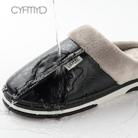 Non-slip large size 7-15 Leather House Slippers men winter warm Memory foam Slippers for men waterproof Good quality 3