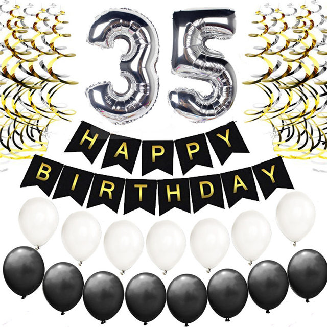 Silver 25th 30th 35th Birthday Decorations Kit Happy Banner Foil Number Balloons Party Supplies Adults