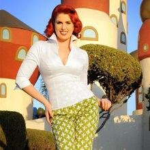 Chemises vintage à col en v pour femmes, chemises cintrées, blanches, grande taille 4xl, Couture pinup, Lauren, vêtements de travail