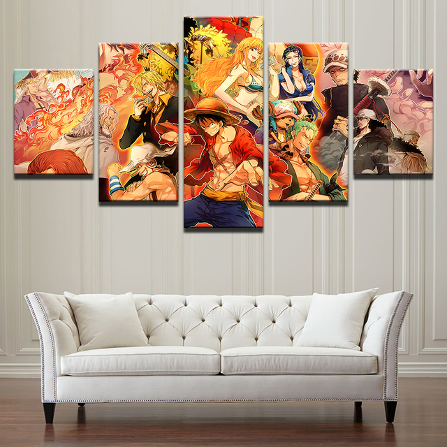 One Piece Anime 5 Pieces Canvas Wall Art Poster
