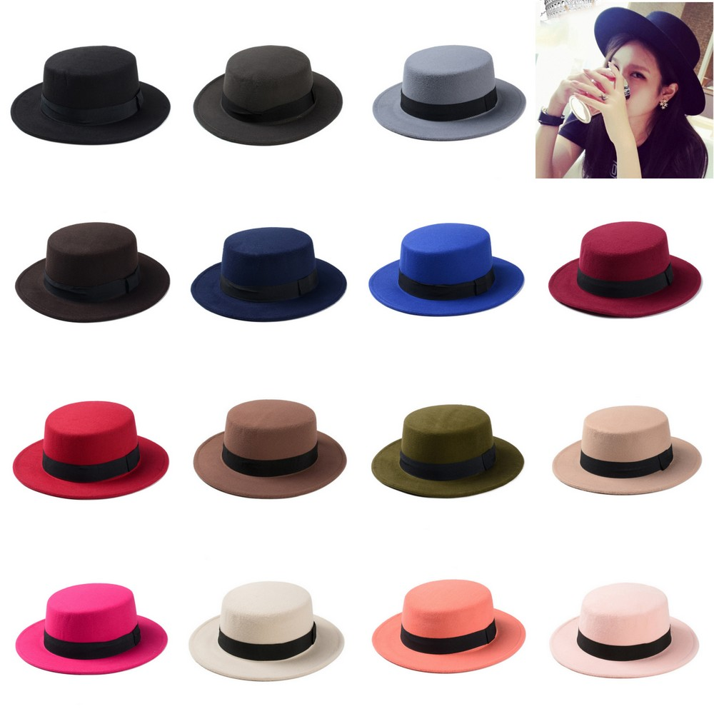 New Fashion Wool Pork Pie Boater Flat Top Hat For Women s Men s Felt Wide  Brim Fedora Gambler Hat-in Fedoras from Apparel Accessories on  Aliexpress.com ... 55dc03c77ca
