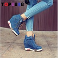 Весна Осень Denim Ботинки Повелительницы Элегантный Женская Мода Высокий Каблук Насосы Сексуальная Женщина Клин Обувь Европейских Обувь B018-1