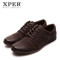 2016 XPER Brand Mens Casual Shoes Lace Up Brown Men Flats Shoes For Driving Leisure Zapatos