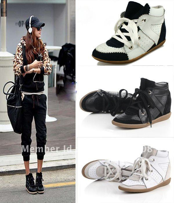 Freeshipping Lace Up High Top Wedge Sneakers Shoes Hidden
