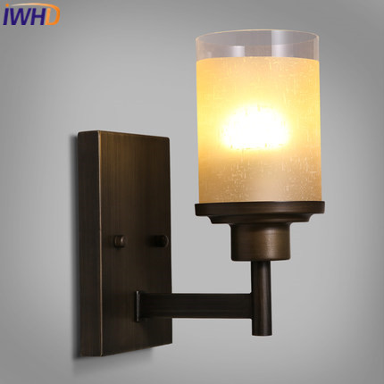 IWHD American Style Loft Industrial Vintage Wall Light For Home Lighting Stairs Retro Iron Sconce Glass Luminaire on the wall iwhd loft style creative retro wheels droplight edison industrial vintage pendant light fixtures iron led hanging lamp lighting
