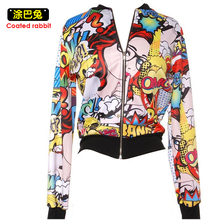 Ladies Bomber Jackets Fashion Retro Baseball coat women Students Ribbed Cuffs Hand painted Print Feminina Basic Outwear