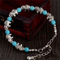 Fashion Bohemia stylish shiny elephant shape Turquoise Beads charming Bracelet Handmade Accessories Fashion Jewelry
