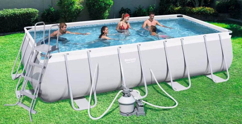 цена #56456(for Europe) Bestway 412*201*122cm Power Steel Rectangular Frame Pool Set(Filter+Ladder 162x79x48/Above Ground Pool Set