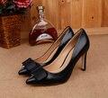 2016 Новый Женщины Натуральная Кожа Туфли На Каблуках Женщины Насосы Острым Носом Лук Дизайн Свадебные Туфли DA010