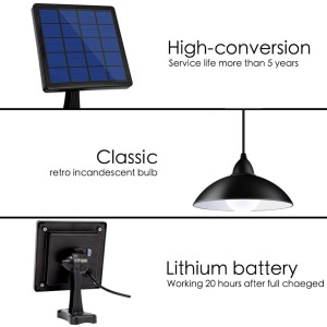 Image 4 - Chandelier Solar LED Light With Remote Control Solar Lamp Retro Lampshade Bulb Solar Panel 16ft Cord Outdoor Solar Garden Light