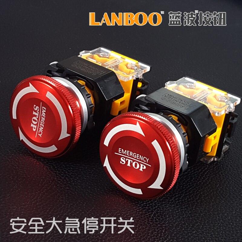 22mm metal Botón del interruptor de parada de emergencia 1ON1NC 250VAC 8A/24VDC 8A gran cabeza de hongo rojo con flecha antideslizante LA38 tipo