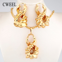 CWEEL Nigerian Jewelry Sets Women African Beads Jewelry Wedding Big Hoop Earrings Copper Gold Color Necklace