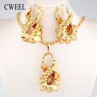 CWEEL Nigerianischen Schmuck Sets Frauen Afrikanische Perlen Schmuck Hochzeit Großen Creolen Kupfer Gold Farbe Halskette Set Weihnachtsgeschenk
