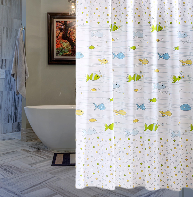 RUBIHOME Shower Curtain For Bathroom PEVA Thicken Waterproof Decor Sea Blue Green Yellow Orange Fish Bubbles Waves With Hooks In Curtains From Home