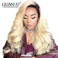 Guanyuhair Ombre блондинка полный кружево Искусственные парики натуральные волосы с темными корнями предварительно сорвал 1b/613 перуанский волосы