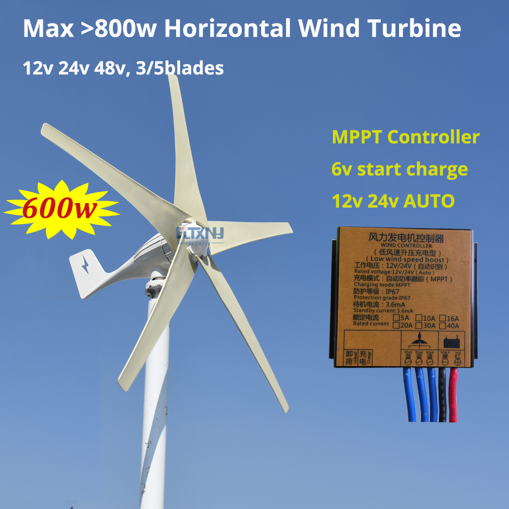new arrival 400w 500w 600w 3 or 5 blades wind power generator three phase AC 12v 24v 48v wind turbine with MPPT wind controller 400w wind generator 12v 24v 48v maglev generator wind turbine with water proof controller 600watt 2 blades 1 3m started