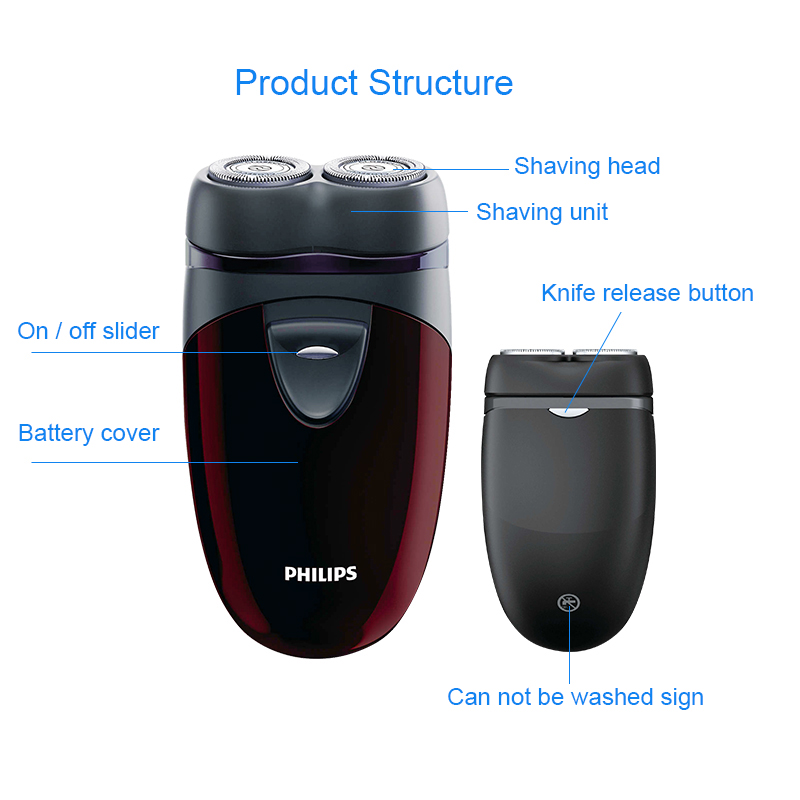 100% Genuine Philips Electric Shaver PQ206 With Two Floating Heads AA Battery Facial Contour Tracking For Men's Electric Razor