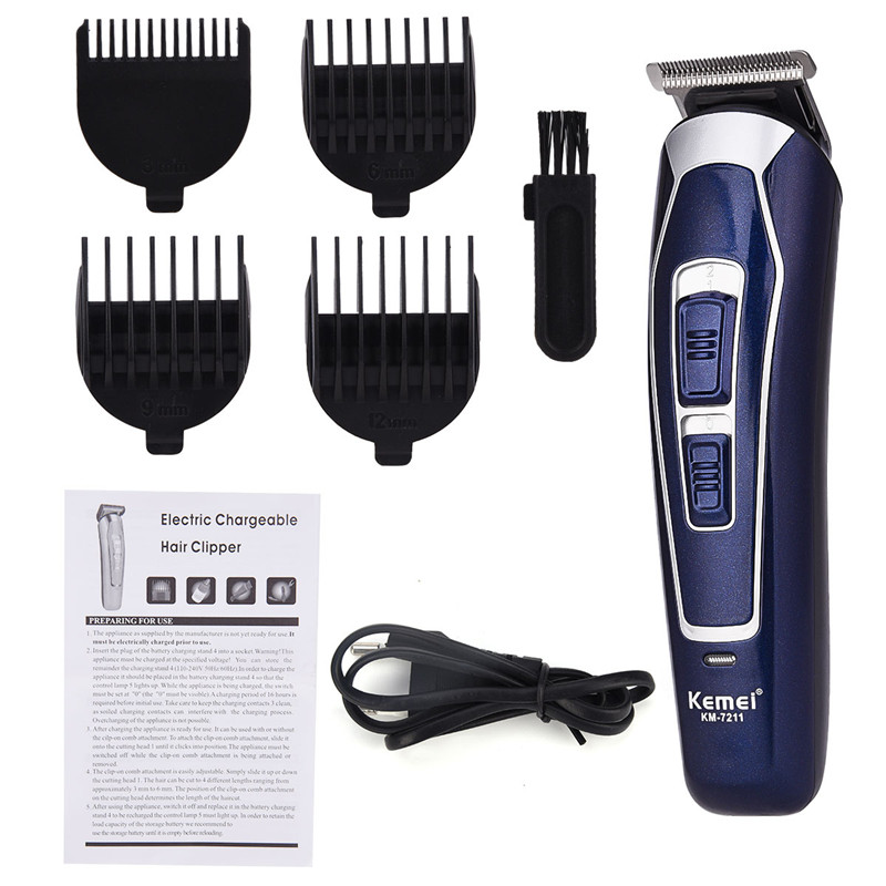 Kemei Electric Hair Clipper Rechargeable Low Noise Hair Trimmer Cordless Hair Cutting Machine Beard Shaver Trimer For Men Barber kemei professional hair beard trimmer hair trimer hair shaver razor clipper electric barber shaver plug use hair cutting machine